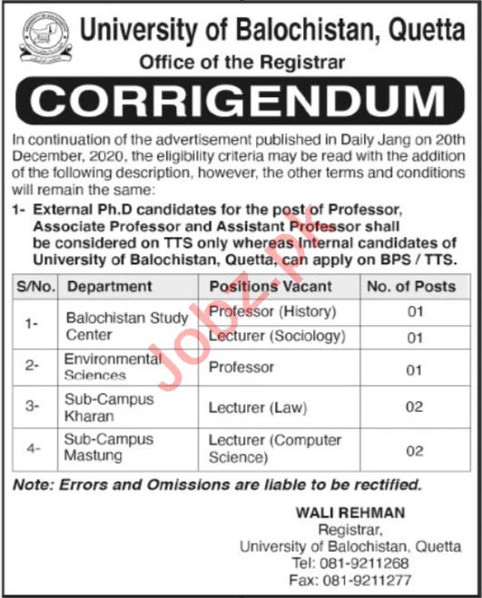 University of Balochistan UOb Quetta Teaching Staff Jobs