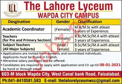 The Lahore Lyceum Wapda City Campus Faisalabad Jobs 2021