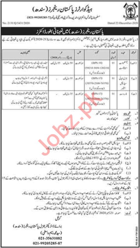 Pakistan Rangers Sindh Jobs 2021 for Doctors