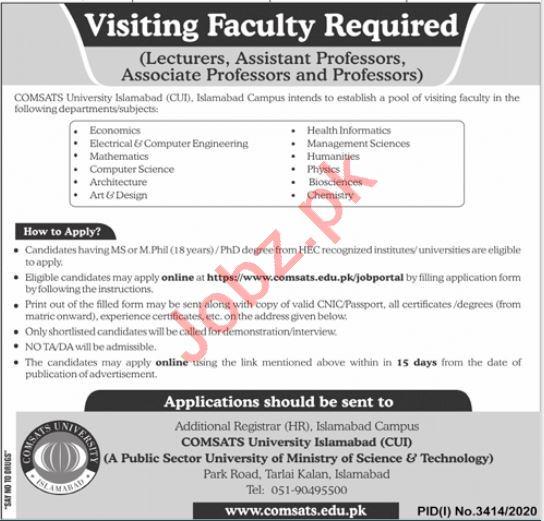 Comsats University Islamabad CUI Jobs 2021 for Professors