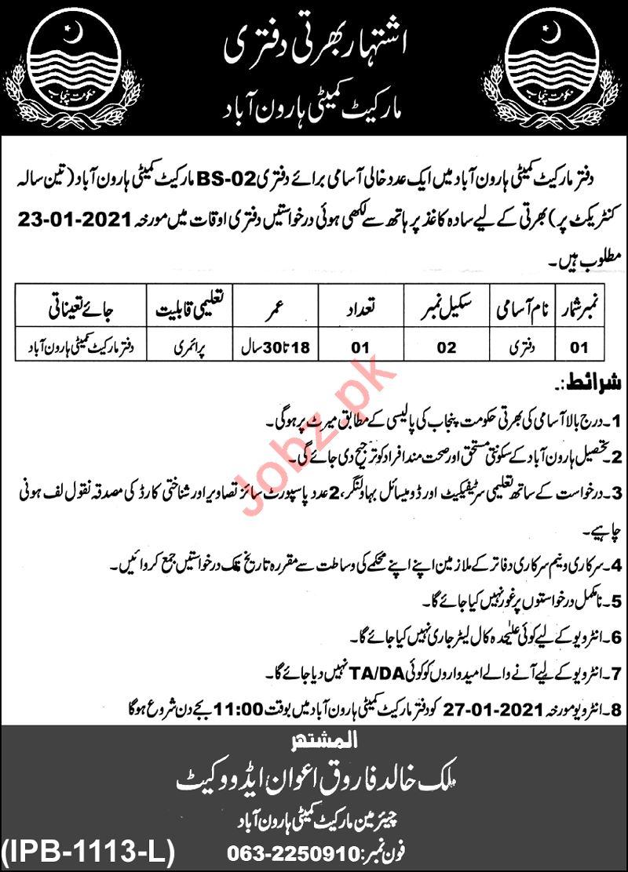 Market Committee Haroonabad Jobs 2021 for Daftari