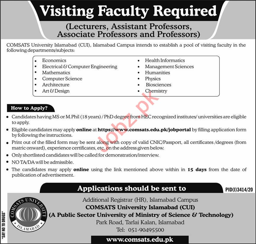 Comsats University Jobs 2021 for Professors & Lecturers