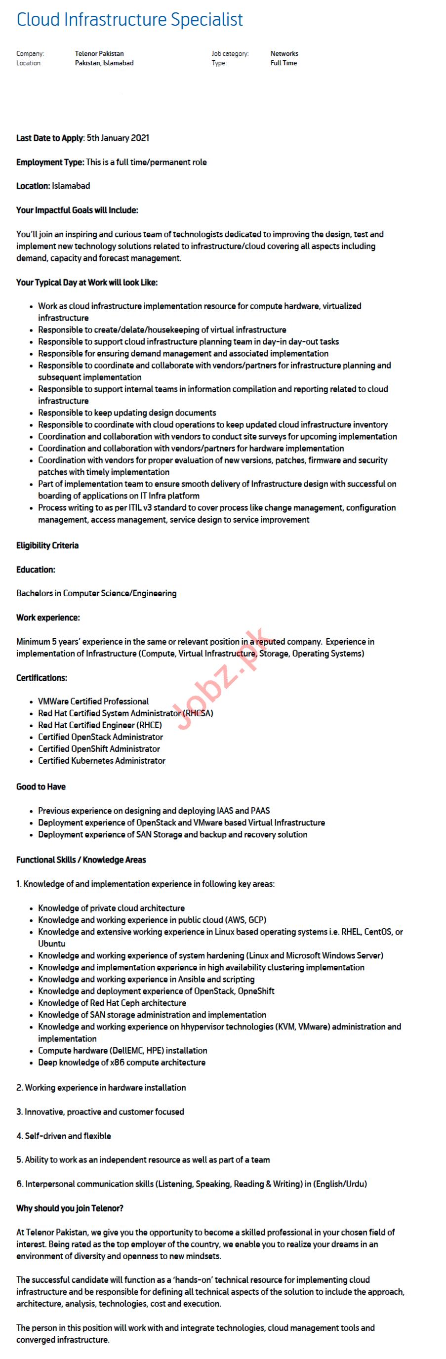 Cloud Infrastructure Specialist Jobs 2021 Telenor Pakistan