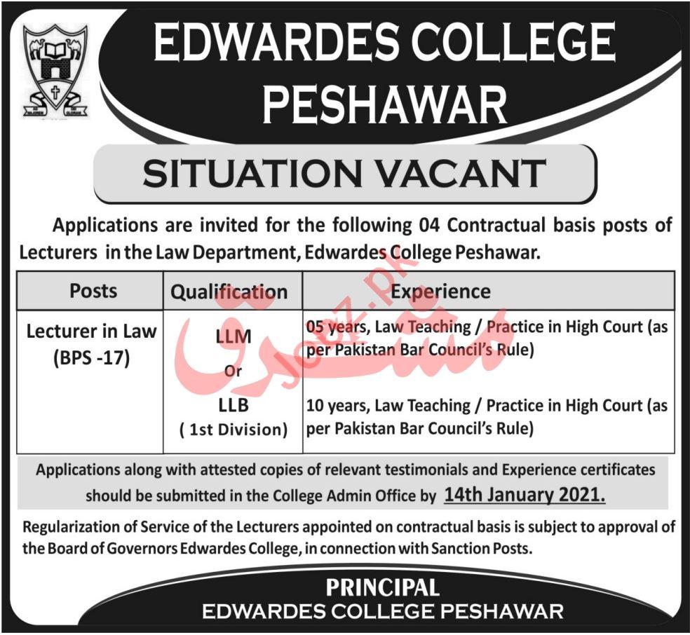 Edwardes College Peshawar ECP Jobs 2021 for Lecturer