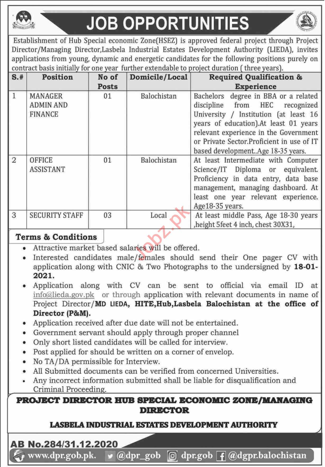 Hub Special Economic Zone HSEZ Balochistan Jobs 2021
