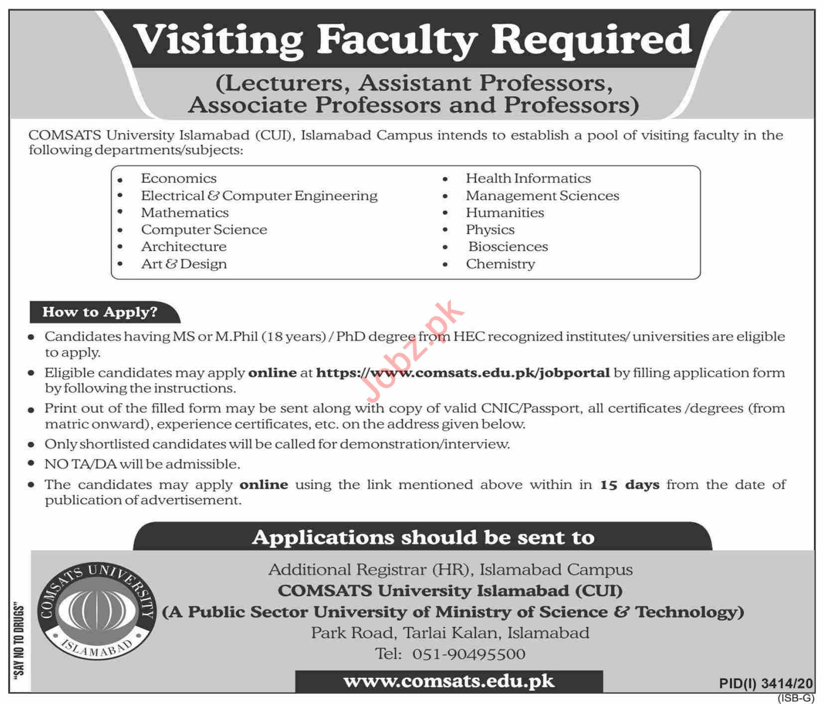 Comsats University Islamabad CUI Jobs 2021 Teaching Staff