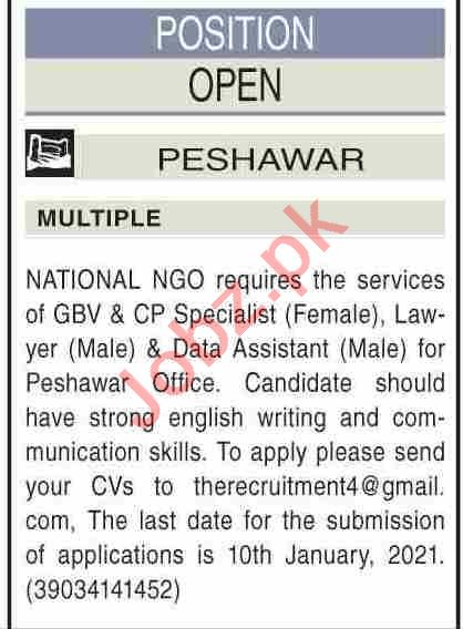 CP Specialist & Data Assistant Jobs 2021 in Peshawar