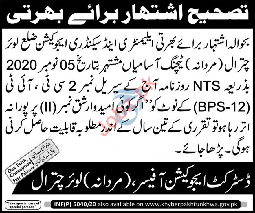 Elementary & Secondary Education ESED Chitral Jobs 2021