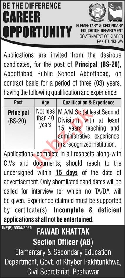 Principal Jobs 2021 in Abbottabad Public School APS Abbottab