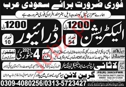 Electrician & Driver Jobs 2021 in Saudi Arabia