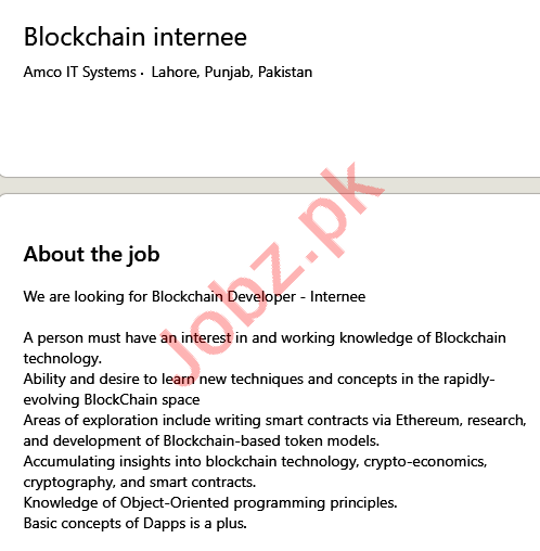 Amco IT Systems Lahore Jobs 2021 Blockchain Internee