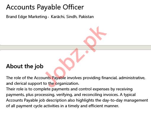 Brand Edge Marketing Karachi Jobs 2021 for Accounts Officer
