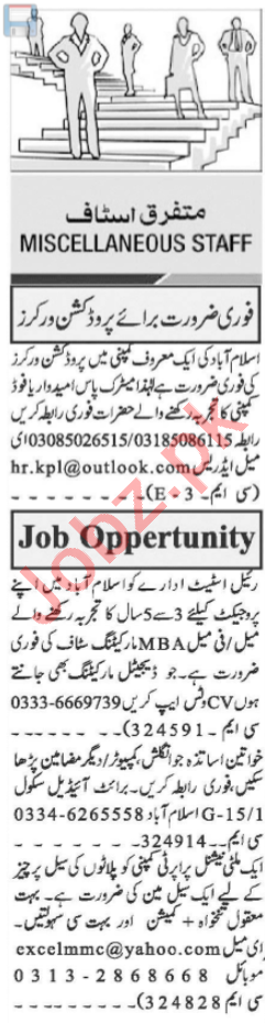 Production Worker & Real Estate Agent Jobs 2021 in Islamabad