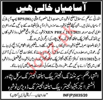 Public Health Engineering Division PHED Nowshera Jobs 2021