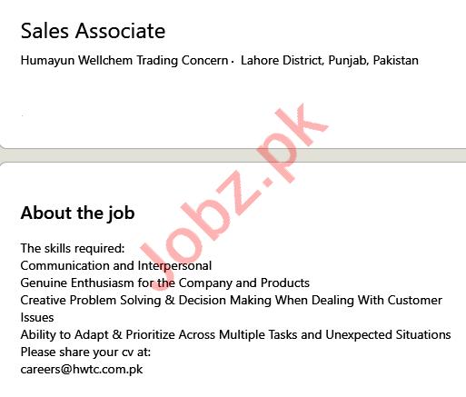Humayun Wellchem Trading Concern Lahore Jobs 2021