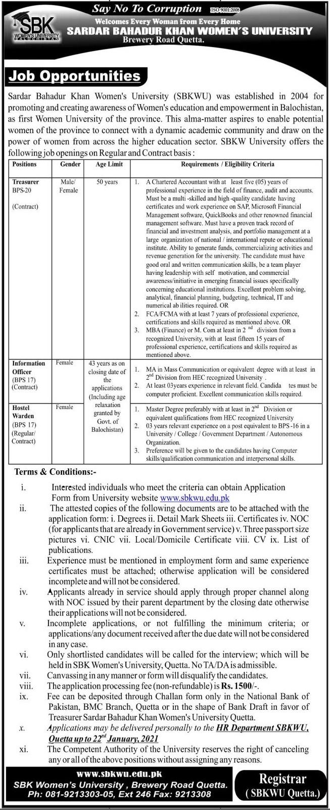 Sardar Bahadur Khan Women's University Jobs 2021