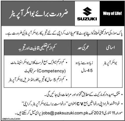 Pak Suzuki Motors Jobs 2021 in Karachi