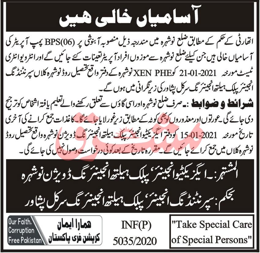 Public Health Engineering Division Job 2021 in Nowshera KPK