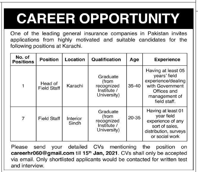 General Insurance Companies Jobs 2021 in Karachi