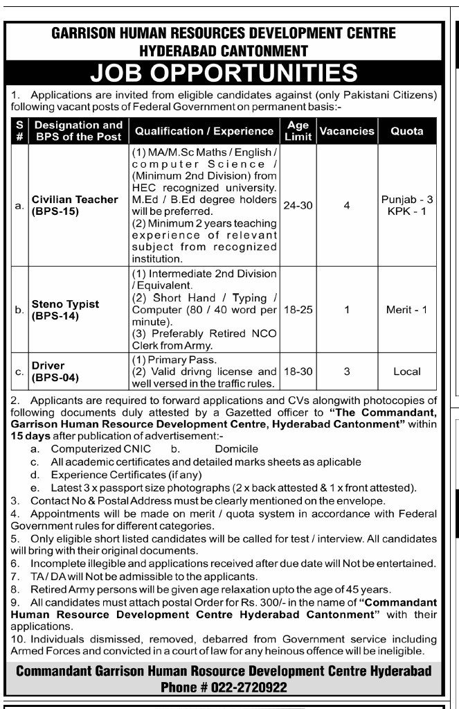Pakistan Army GHRDC Hyderabad Cantt Jobs 2021
