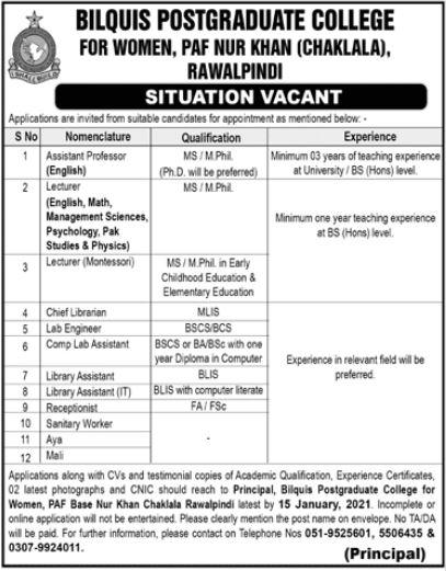 Bilquis Postgraduate College Jobs 2021 in Rawalpindi