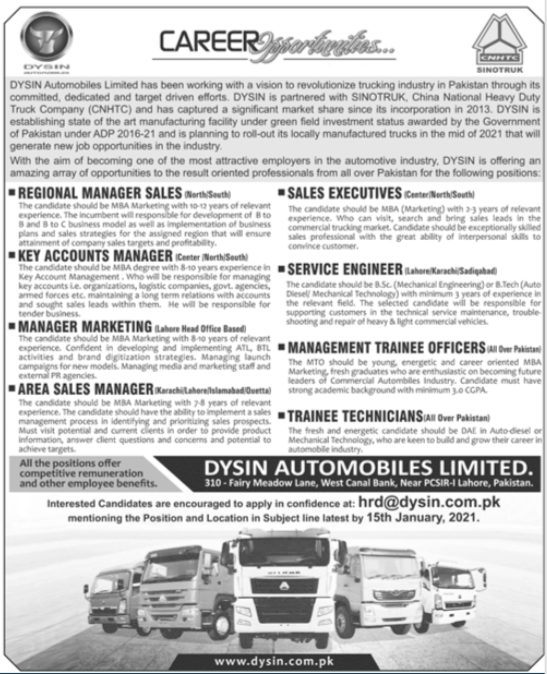 Dysin Automobiles Limited Jobs 2021 in Lahore