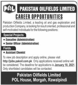 Pakistan Oilfields Limited POL Jobs 2021 in Rawalpindi