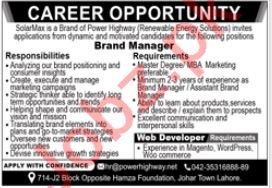SolarMax Lahore Jobs 2021 for Brand Manager