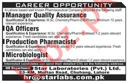 Star Laboratories Jobs 2021 for QA Officer & Manager QA