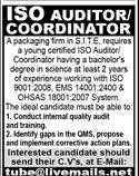 ISO Auditor & Coordinator Jobs 2021 in Karachi