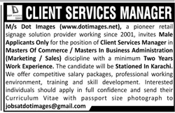Client Services Manager Job 2021 in Karachi