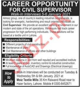 Moiz Textile Mills Lahore Jobs 2021 for Civil Supervisor