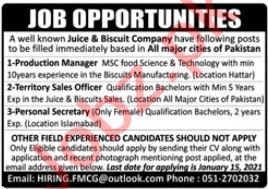Production Manager & Territory Sales Officer Jobs 2021