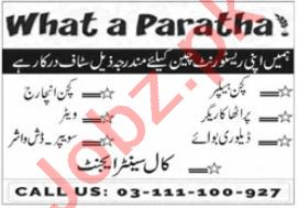 What a Paratha Jobs 2021 for Kitchen Incharge & Waiter