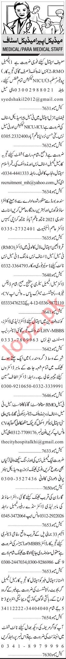 Jang Sunday Classified Ads 3rd Jan 2021 for Medical Staff
