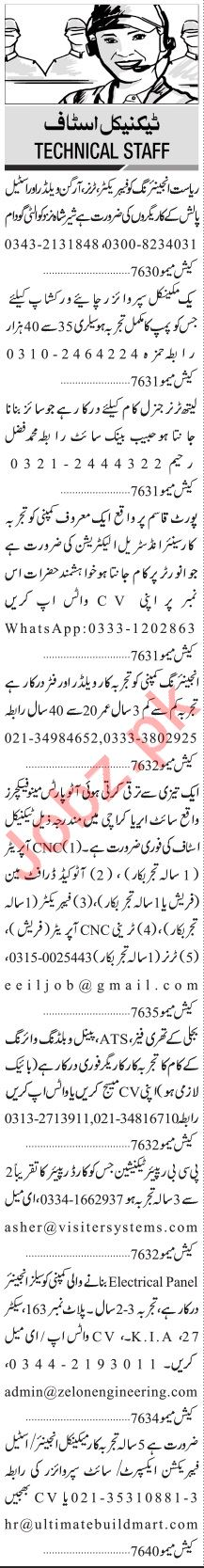 Jang Sunday Classified Ads 3rd Jan 2021 for Technical Staff