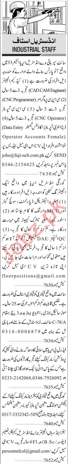 Jang Sunday Classified Ads 3rd Jan 2021 for Industrial Staff
