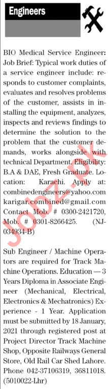 The News Sunday Classified Ads 3rd Jan 2021 for Engineering