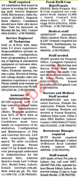 The News Sunday Classified Ads 3rd Jan 2021 for Management