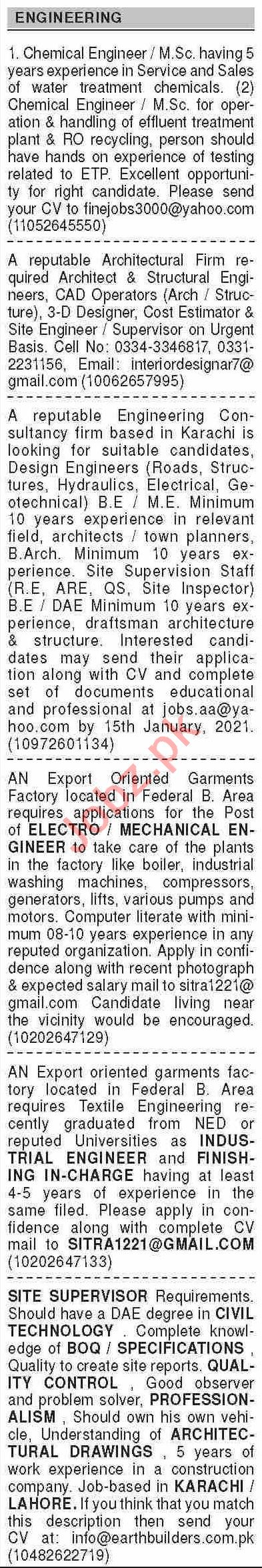 Dawn Sunday Classified Ads 3rd Jan 2021 for Engineering