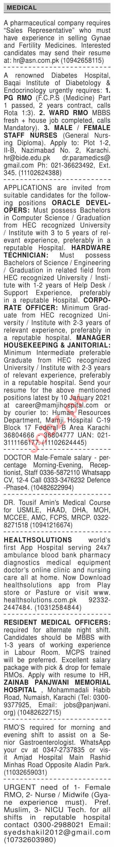 Dawn Sunday Classified Ads 3rd Jan 2021 for Medical Staff