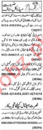 Nawaiwaqt Sunday Classified Ads 3rd Jan 2021 Medical Staff