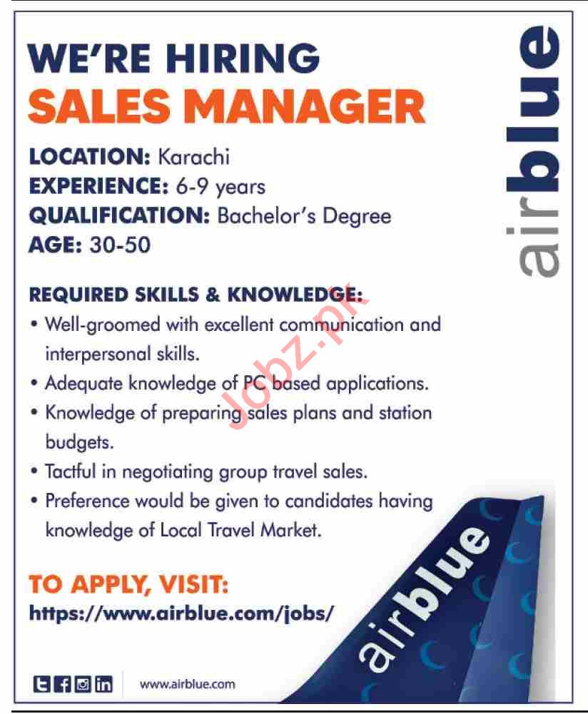 Airblue Jobs 2021 for Sales Manager