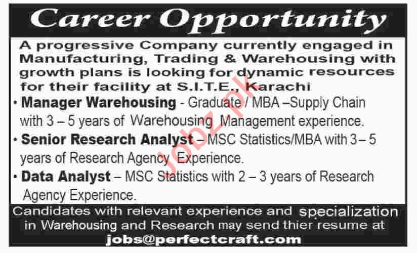 Manager Warehousing & Senior Research Analyst Jobs 2021