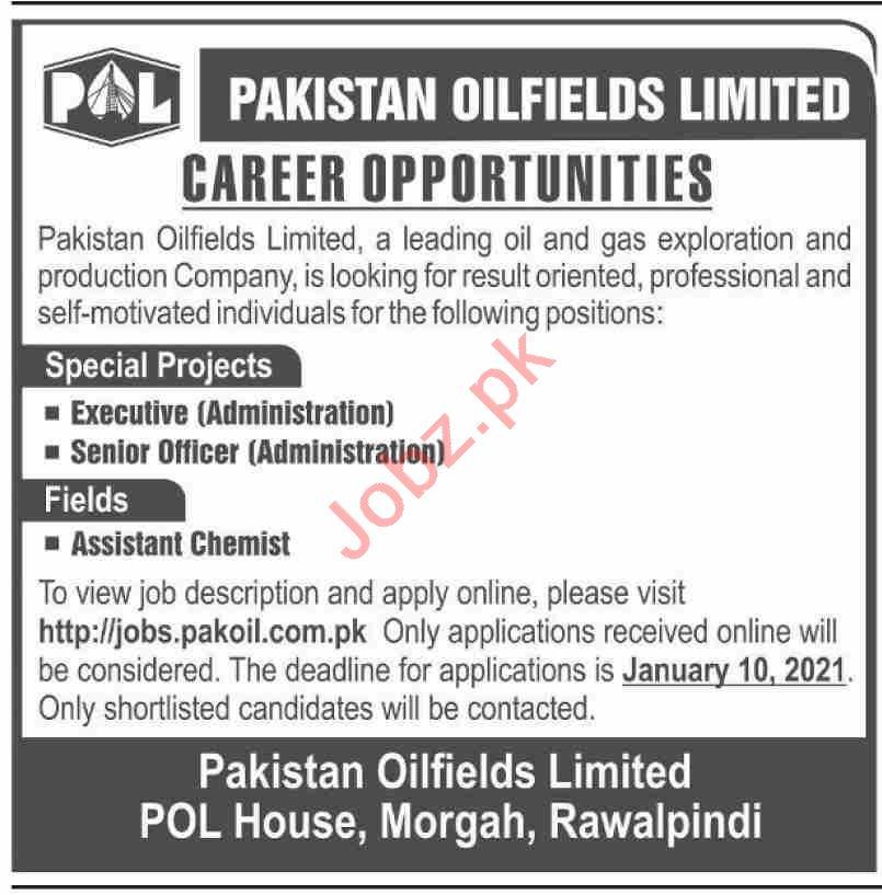 Pakistan Oilfields Limited POL Rawalpindi Jobs for Executive