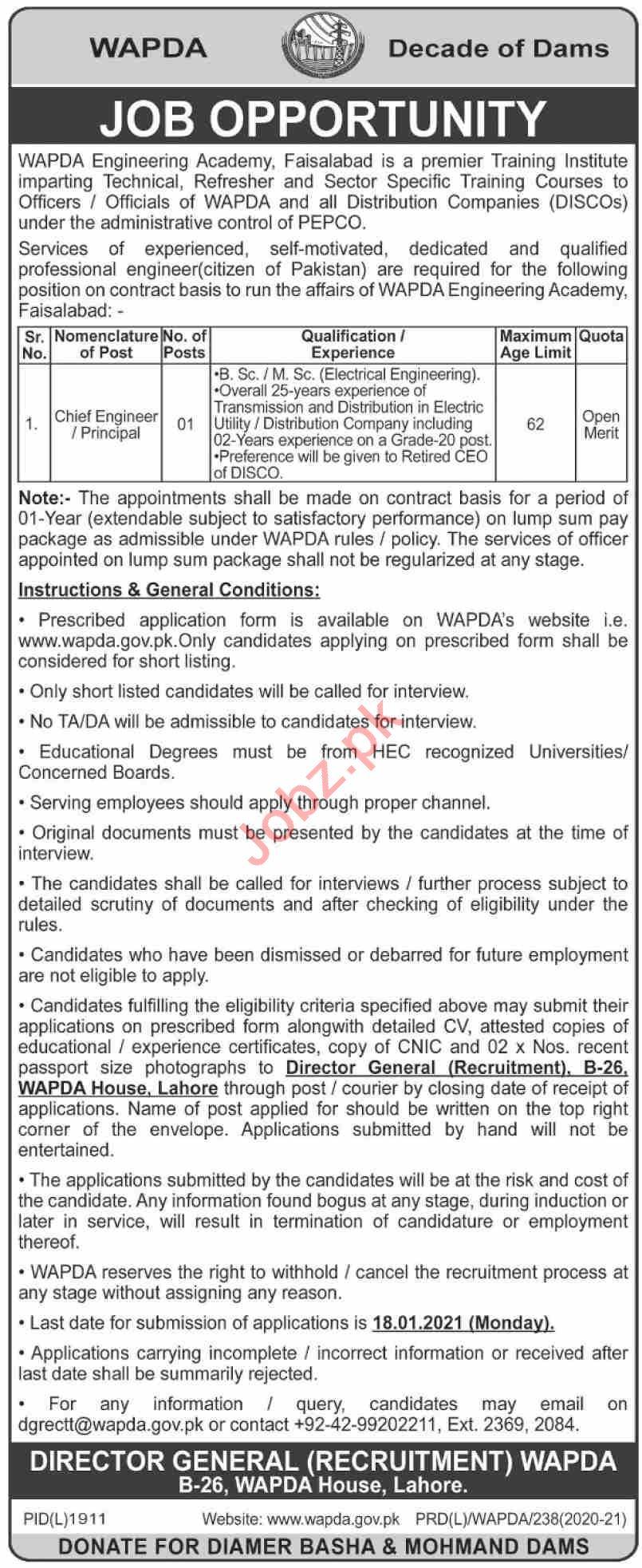 WAPDA Engineering Academy Faisalabad Jobs 2021 for Engineer