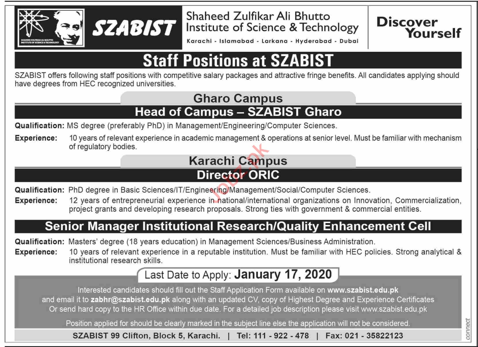 SZABIST University Sindh Campus Jobs 2021 for Director