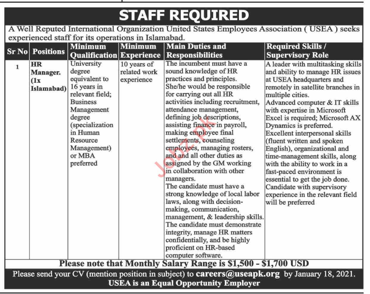United States Employee Association USEA Islamabad Jobs 2021