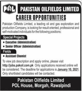 Pakistan Oilfields Limited POL Jobs 2021 For Rawalpindi