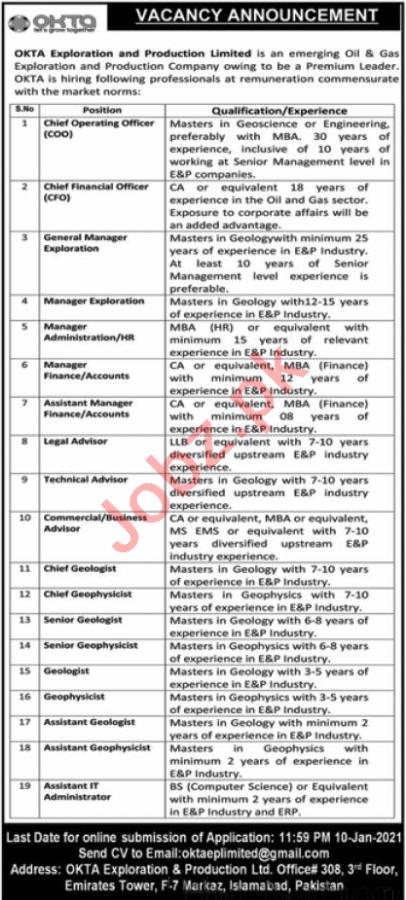 OKTA Exploration & Production Islamabad Jobs 2021